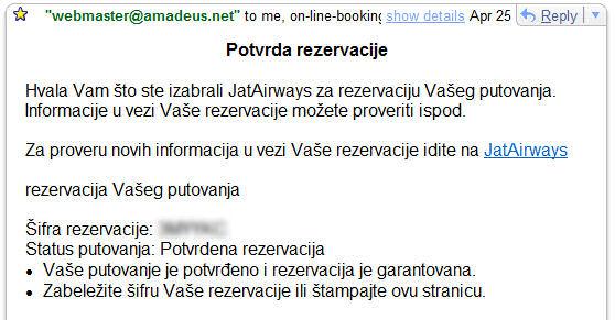 Potvrda o rezervaciji se šalje na e-mail